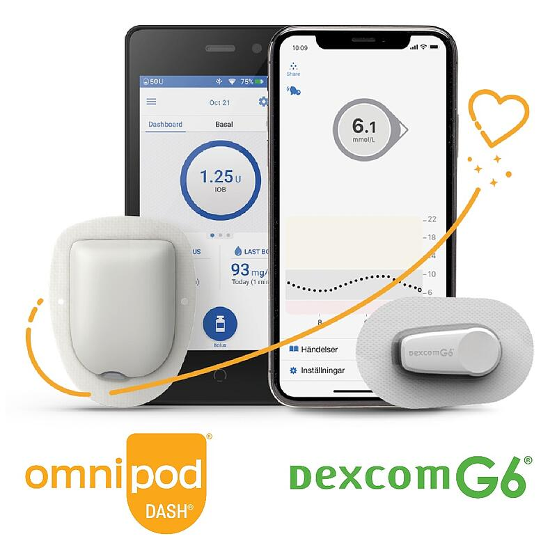 Omnipod + Dexcom Swoosh Heart